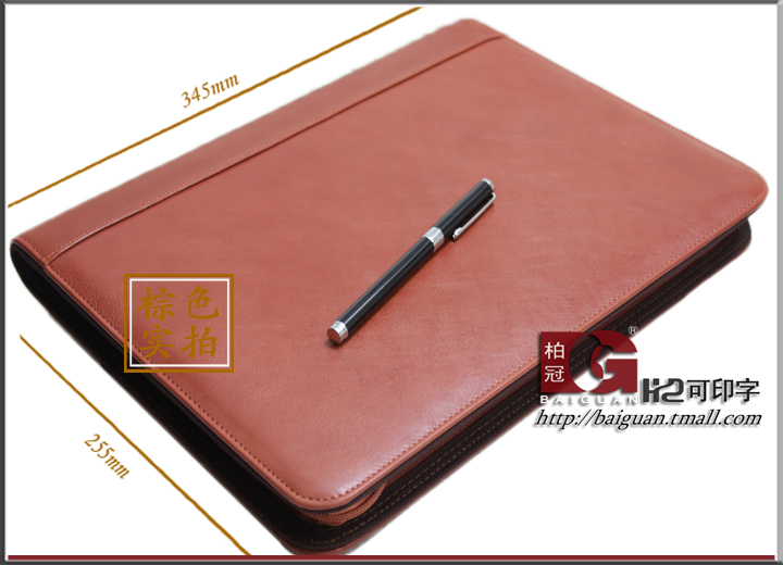 Bo crown popular leather a4 multifunctional manager folder zipper calculator clip pin speak