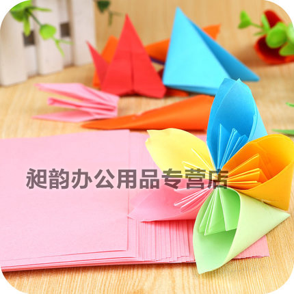 Bo lunsi children handmade paper origami square 10 color origami paper stack of colored paper 1000/pack