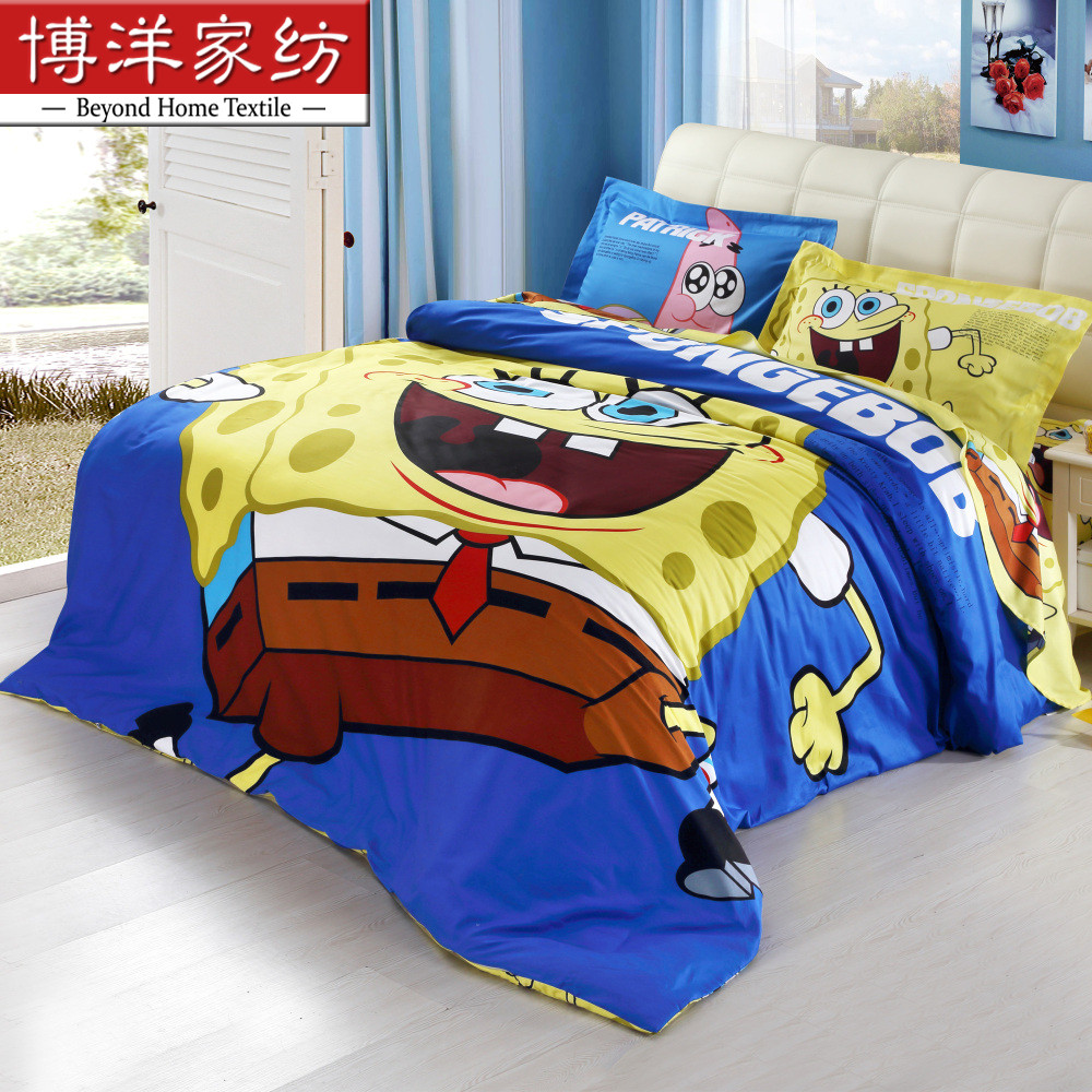 Bo yang baby children cotton denim cotton cartoon boy girl twin bed three sets of m spongebob