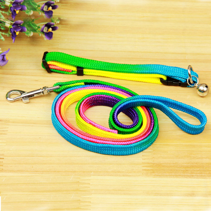 Bobo colorful pet collar with a small bell teddy pet leashes collars lead rope leash dog pull free shipping