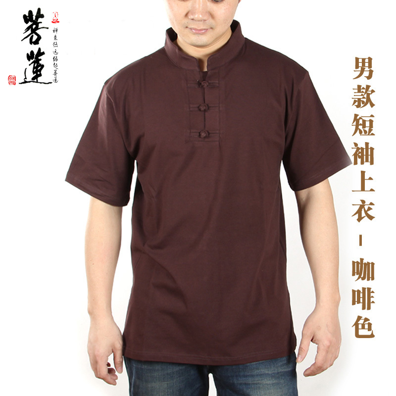 Bodhisattva lotus auldale tencel cotton short sleeve men's casual t-shirt in summer and autumn chinese style buddhist meditation meditation service