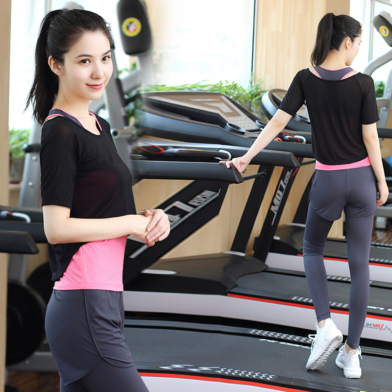 Bodhisattva ti yoga clothes yoga clothes parure female autumn and winter gym jogging pants sports suit was thin fake two Yoga clothes