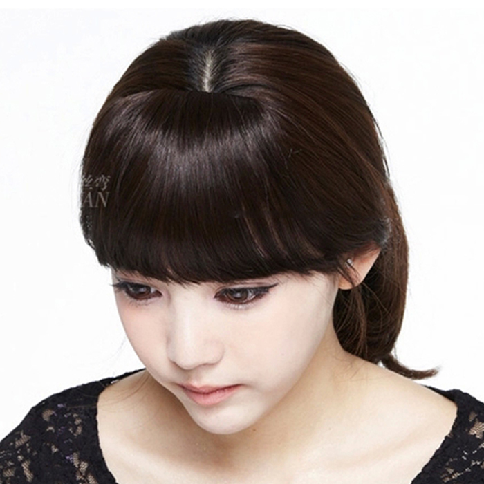 Bosi bend wig qi oblique bangs real hair bangs bangs piece hair bands sideburns invisible wear can love fashion girls fake bangs