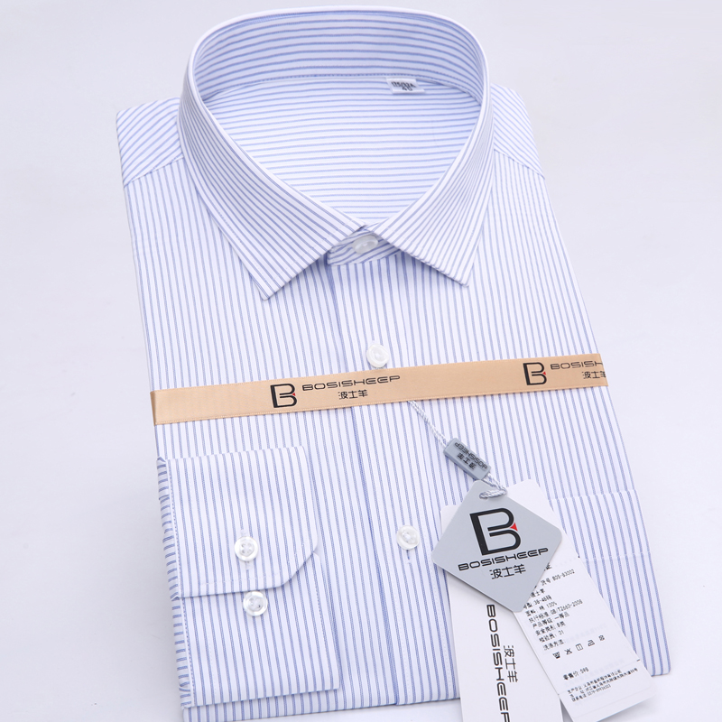 Bosisheep/boss sheep sleeved shirt men dress business casual men's cotton atmp clothing iron shirts