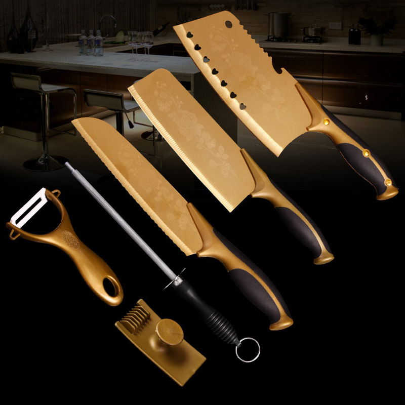 Bothhi rosaceous gold-plated crushing machine supporting titanium cutlery kit liu jiantao