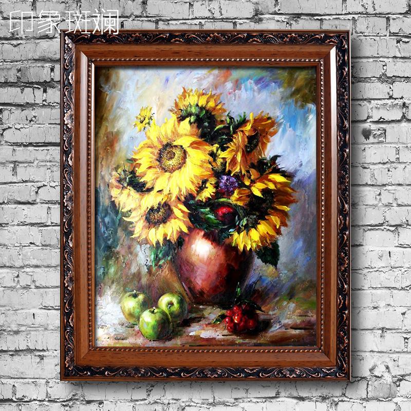Bottle of sunflower painted oil painting of european classical flower still life painting the living room entrance gorgeous impression
