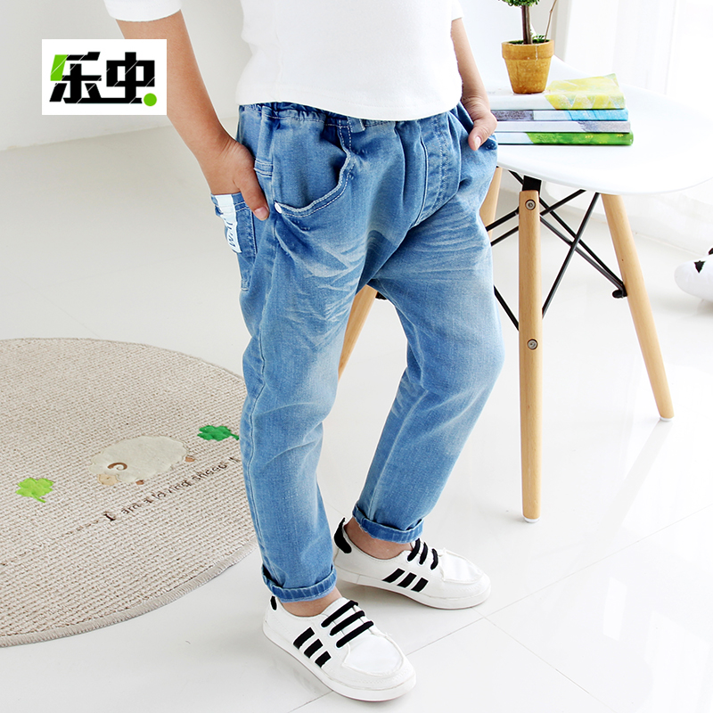 Boy jeans spring and autumn 2016 new korean models fall children's clothing children pants baby pants baby trousers pants tide