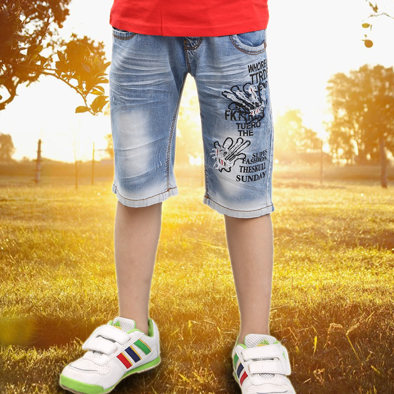 Boy shorts summer thin jeans big boy summer summer 2016 spring models in children five pants casual wave