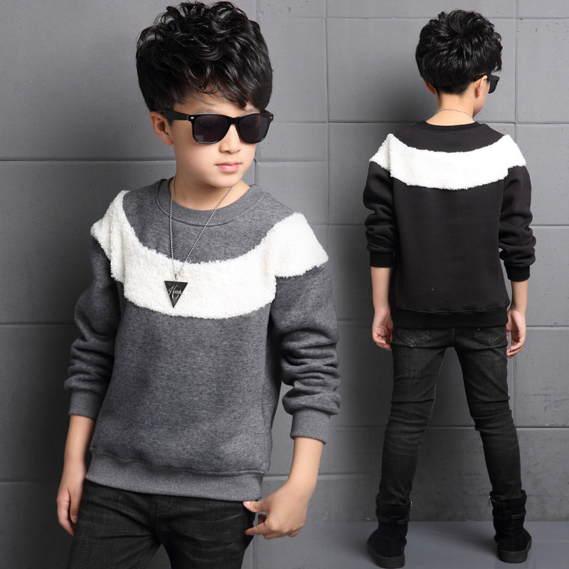 Boy sweater plus thick velvet 2016 futuroic 8 9 children winter models big virgin winter 15 warm bottoming shirt 13 years old