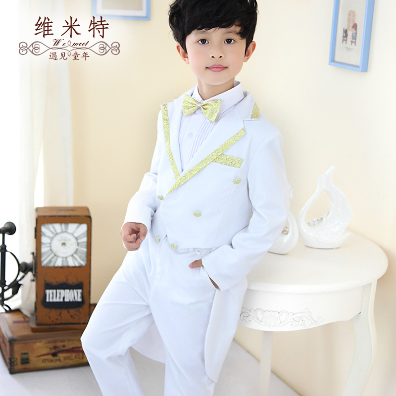 Boys dress suit pure white phnom penh flower girl dresses tuxedo boy piano performances of clothes suit suit