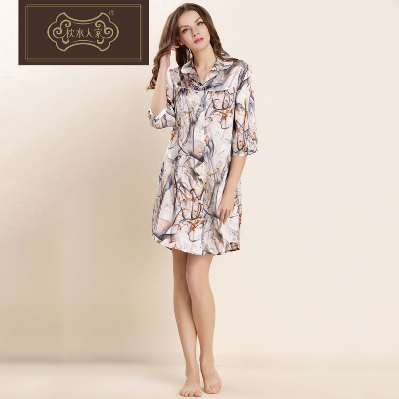 Brand pillow water people 100% silk female summer big yards long sleeve silk nightgown silk pajamas can waichuan