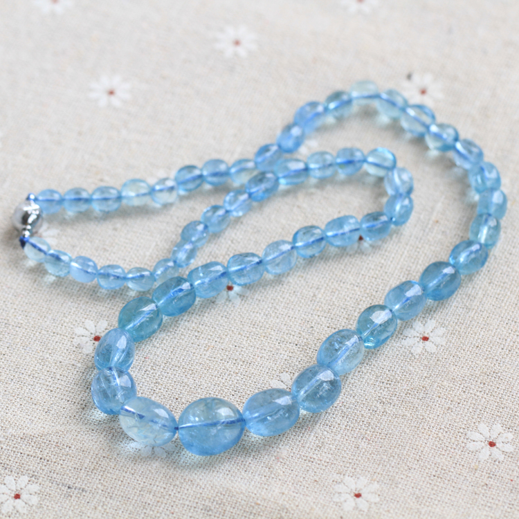 Brazil natural aquamarine aquamarine necklace tower chain collection crystal color run through