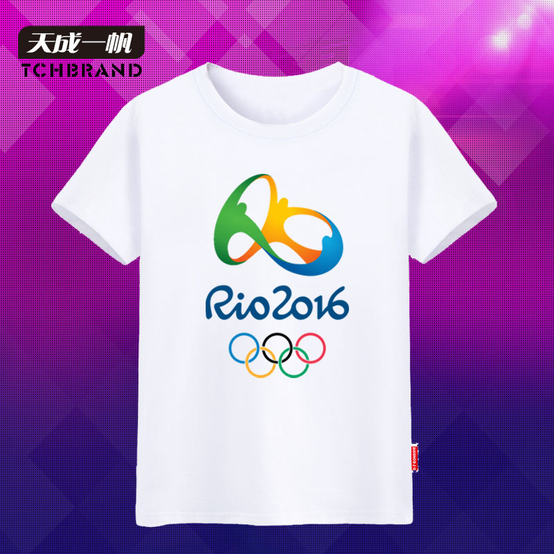Brazil rio sportswear games mascot emblem of the olympic movement culture commemorative t-shirt short sleeve t-shirts for men and yards