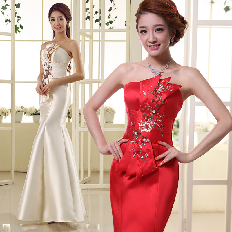 Bridal satin wedding dress slim big red evening dress bridesmaid dress toast clothing beige wedding dress qi wedding dress slim