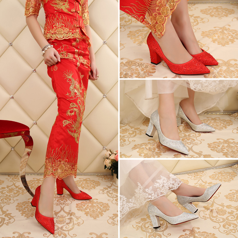 Bridal shoes red wedding shoes diamond pointed high heels shoes white wedding shoes wedding shoes in with the rough with a single shoe