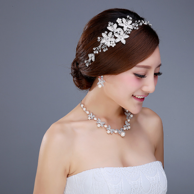 Bridal wedding tiara necklace earrings parure korean wedding jewelry wedding jewelry crown hair accessories