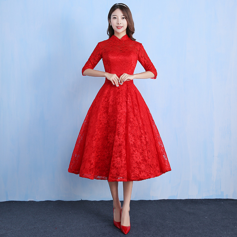 Bride wedding dress 2016 new autumn and winter slim was thin sleeve red dress engagement dress back door toast clothing cheongsam