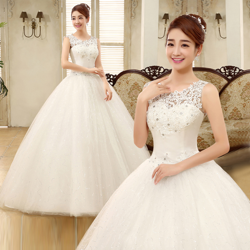Bride wedding dress 2016 new large size wedding dress qi shoulder wedding dress tutu skirt autumn and summer wedding dress korean