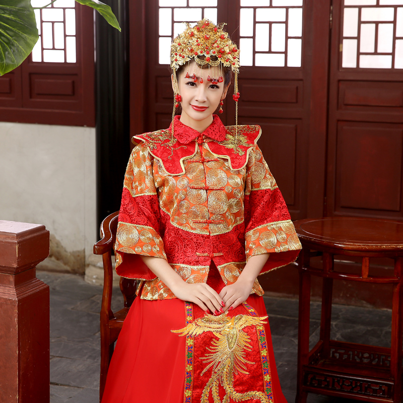 Bride wedding dress toast clothing chinese wedding dress vintage cheongsam dress xiu dragon gown wedding dress costume hi clothes