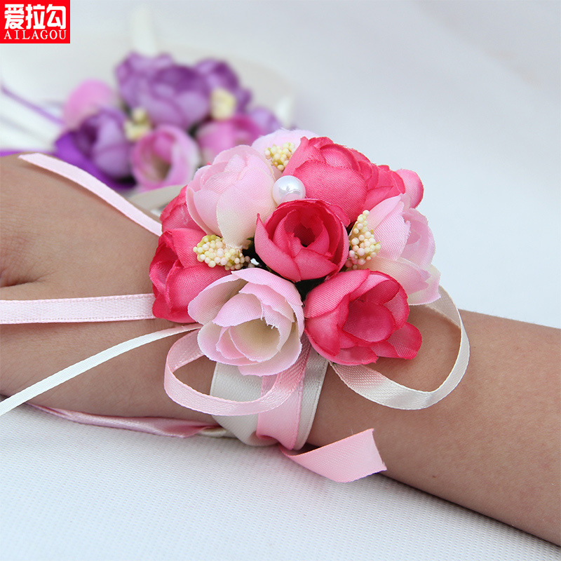 Bride wrist flower wedding wedding supplies simulation korean sister group to spend wrist wrist flower wedding handmade custom