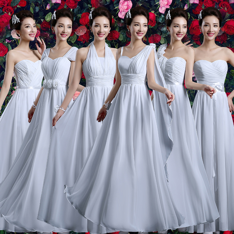 Bridesmaid dress long section 2016 summer new korean version of the white bridesmaid dresses sister group bridesmaid dress evening dress banquet female summer