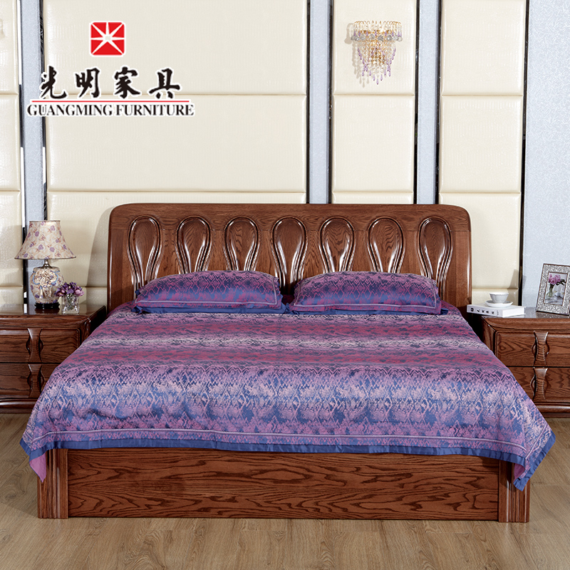 Bright furniture imported red oak solid wood bed 1.8 m neoclassical double bed wood furniture 1.8