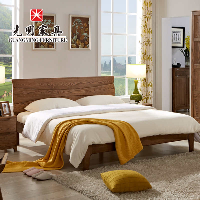 Bright furniture modern minimalist double bed 1.9 m solid wood imported red oak wood bed bedroom furniture marriage bed