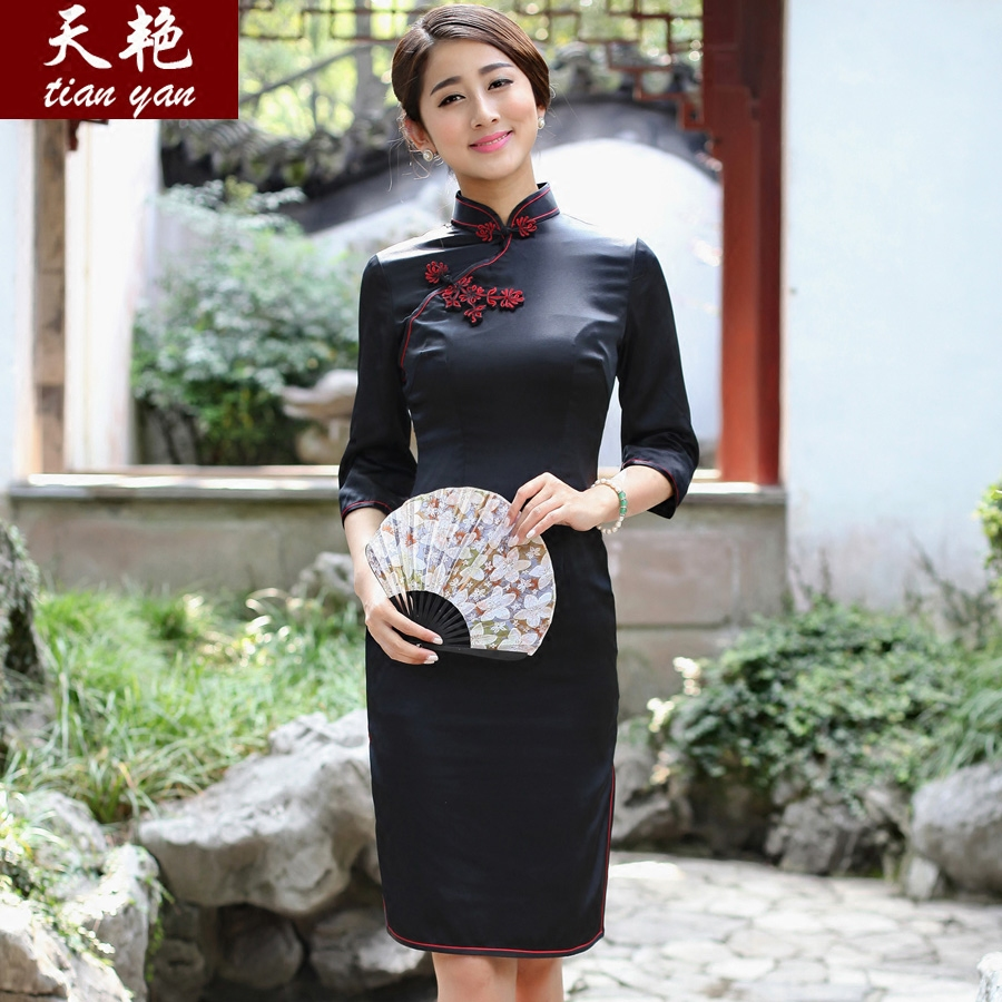 Brilliant day italian concentrated 2016 new spring and summer mulberry silk heavy silk cheongsam dress modified retro cheongsam dress slim black
