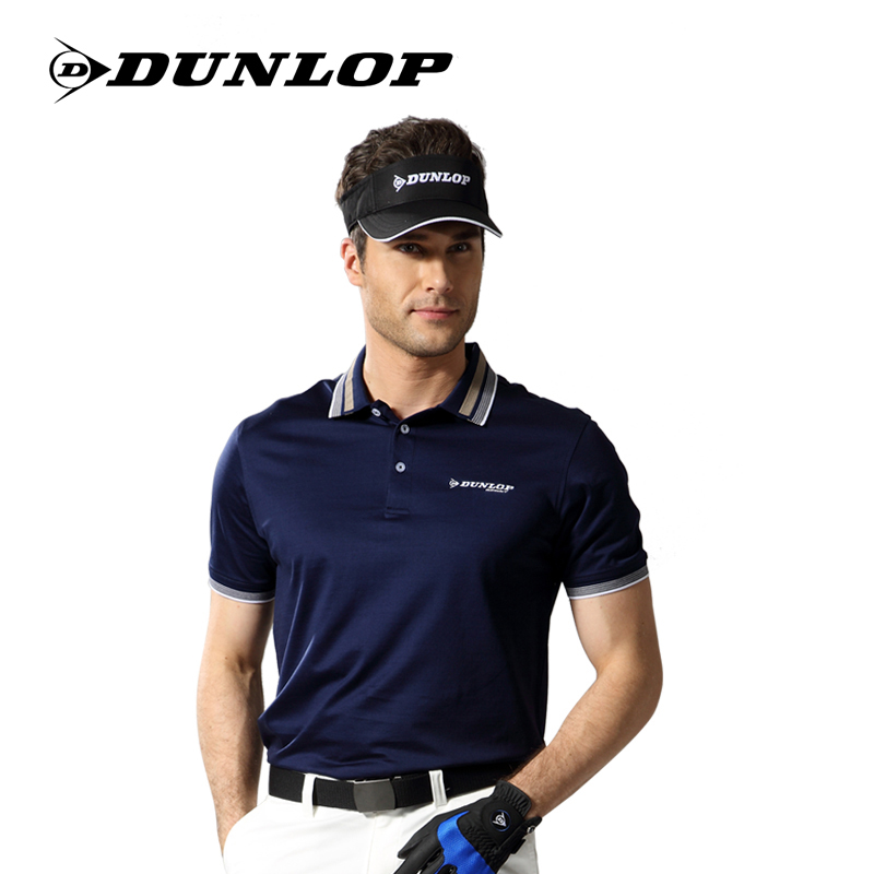 British official authentic dunlop golf men short sleeve solid color short sleeve sports t-shirt silk light cotton authentic free shipping