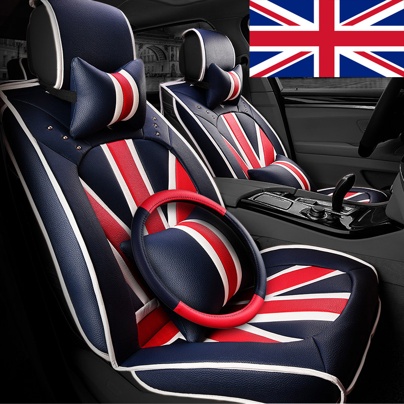 British style fashion union jack the whole package leather seat cushion special car seat four seasons general women cute 3d car seat cover