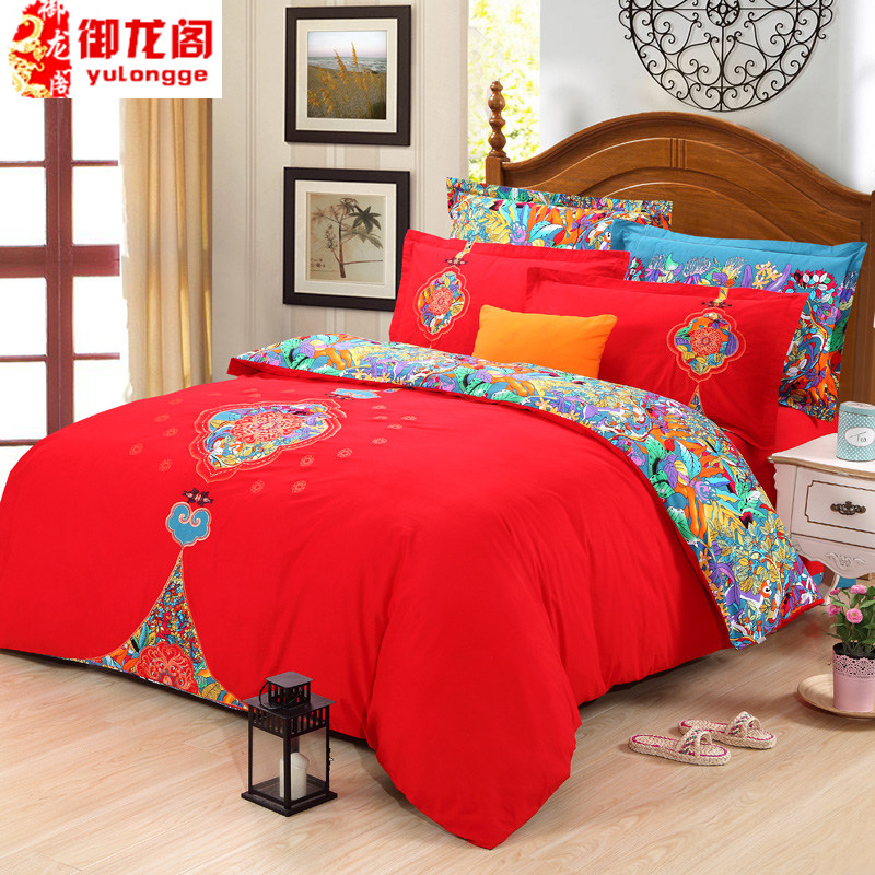 Brushed cotton denim wedding big red cotton thick warm winter quilt bedding linen specials