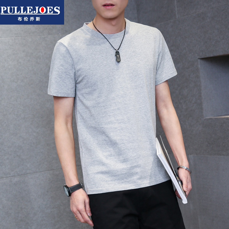 Bry conchos new summer male cotton round neck short sleeve t-shirt solid color half sleeve youth t-shirt bottoming tide