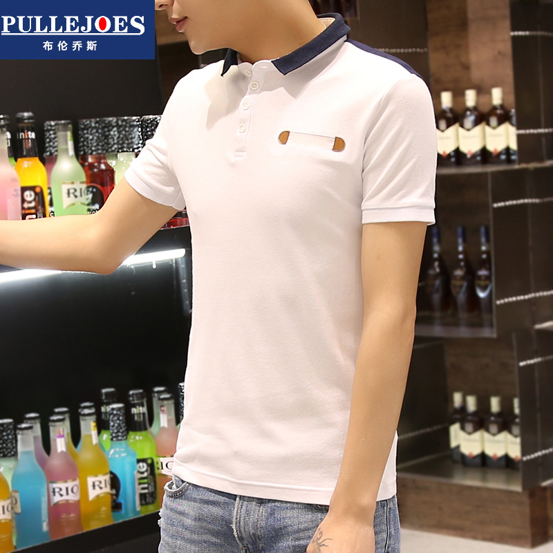 Bry conchos summer small lapel polo shirt short sleeve t-shirt adolescent male cotton sleeve t-shirt slim paul