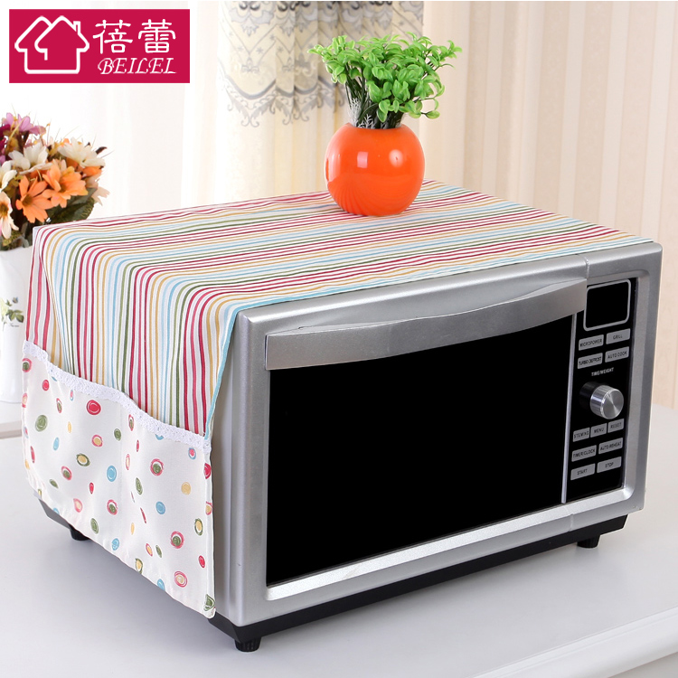 Bud oilproof microwave hood cover towel pastoral cloth dust cover microwave oven hood cover with side pockets korean