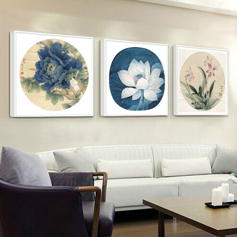 Bulgari framed painting lotus peony clivia now chinese wood living room backdrop restaurant decorative painting