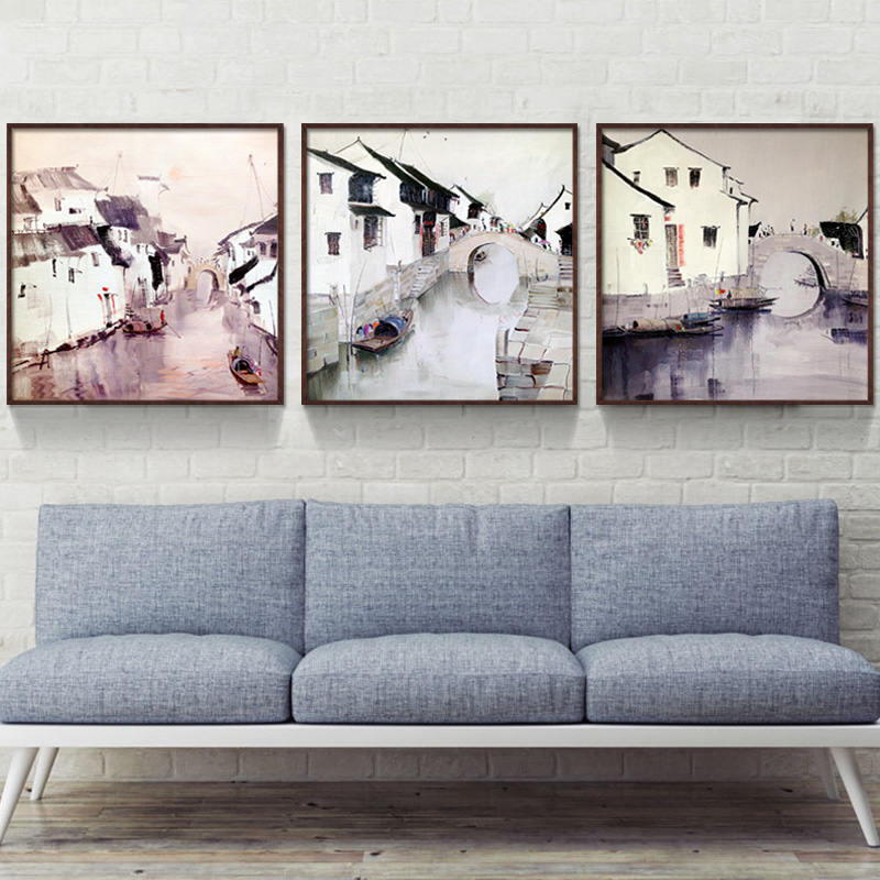 Bulgari jiangnan landscape of modern chinese painting decorative painting company office den living room triptych