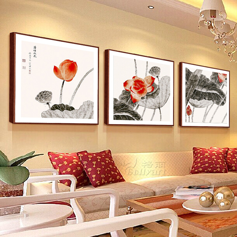 Bulgari modern chinese painting calligraphy and painting decorative painting framed painting the living room wall painting paintings restaurant three lotus flowers