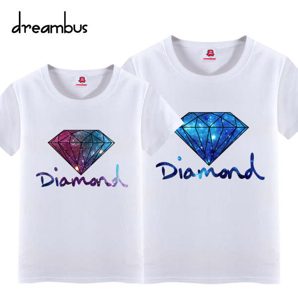 Bus dream summer new stars wind diamond pattern printed cotton short sleeve t-shirt lovers love 331