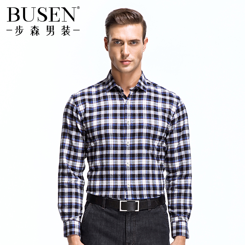 Busen/busen men brushed cotton long sleeve plaid shirt fashion business casual classic wild section