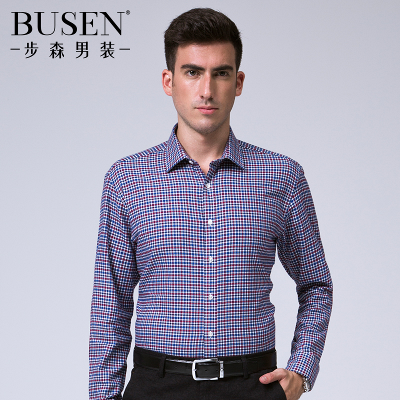Busen/busen men thick cotton brushed flannel plaid shirt men's fine plaid long sleeve loose version
