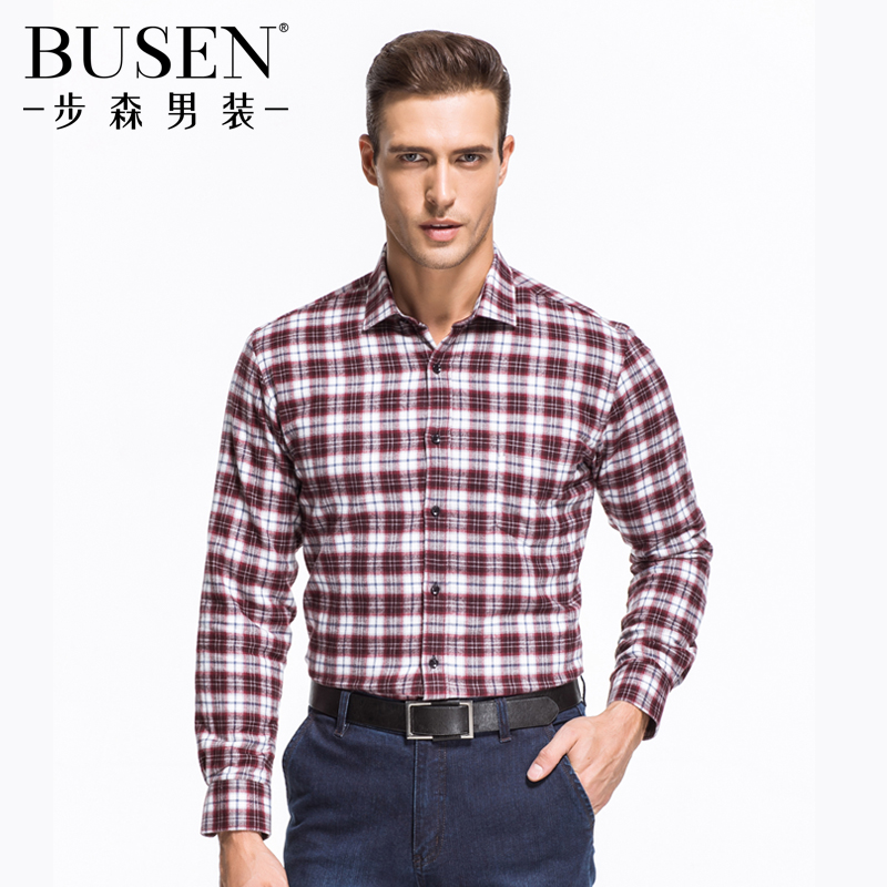 Busen/busen new winter fashion cotton velvet thick brushed red plaid long sleeve shirt warm shirt