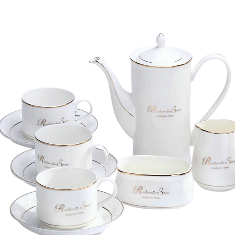 Business gifts phnom penh/silver edge continental bone china coffee cup and saucer gift set 15 sets of ceramic cup