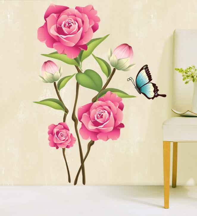 Butterflies living room tv background wall stickers wall stickers romantic bedroom bedside marriage room decorative wall painting wallpaper waterproof