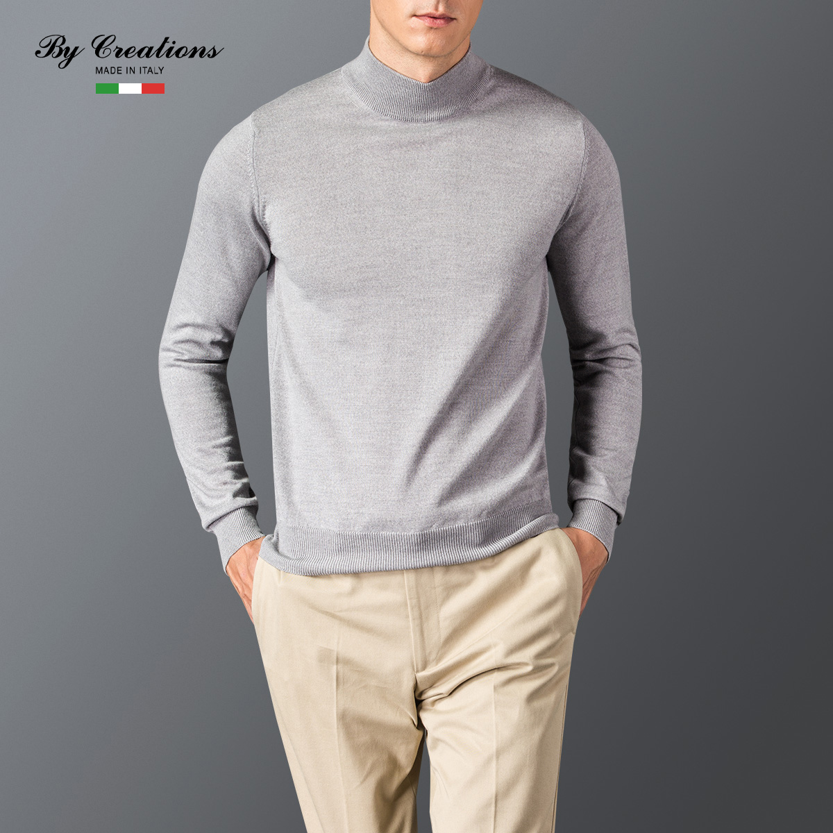 By creations/italian cypress product manufacturing new men's high collar and a half of pure wool sweater