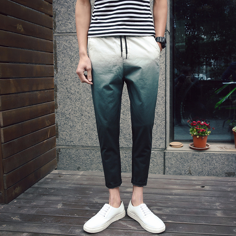 2a17f272bc6b9 Get Quotations · By the spring gradient casual pants pantyhose 9 points  korean version of chinese style cotton men's