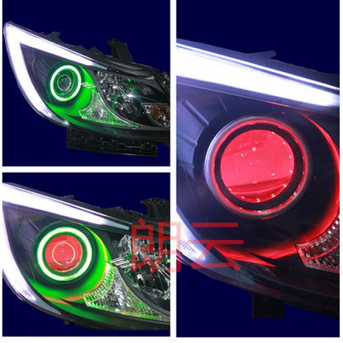 Byd speed sharp front headlight assembly modified bifocal lens with hid xenon lamp day make devil eyes daytime running lights