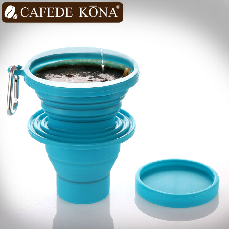 Cafede kona hand punch coffee set coffee drip coffee filter cup portable folding funnel