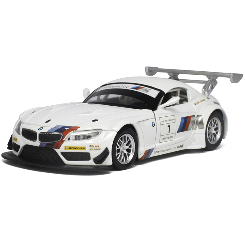 Caipo come true cars bmw z4 gt3 racing 1:32110 wing version sound and light alloy pull back car toys for children