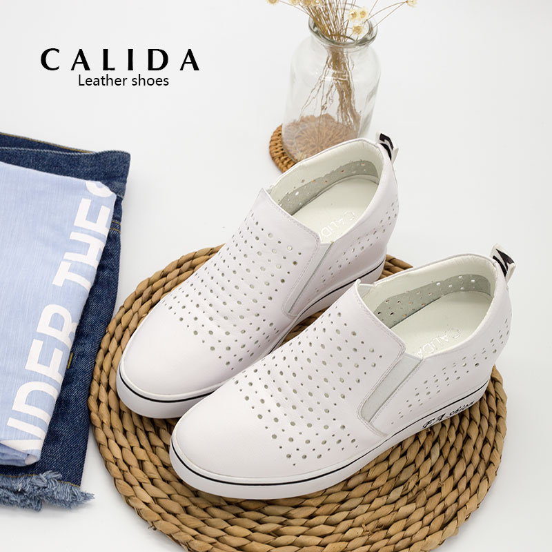 Calida loafers shoes new spring and summer 2016 increased within the hollow leather shoes women shoes casual shoes white shoes women shoes