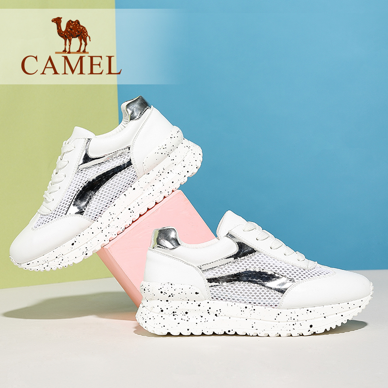 Camel/camel leather and artificial leather sports shoes casual shoes lace shoes women fight mesh metal material mesh shoes